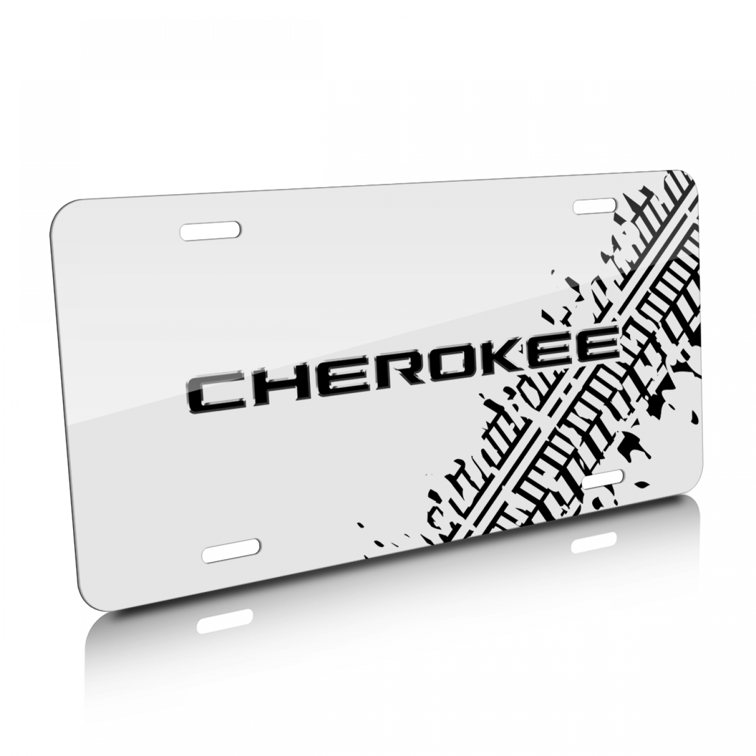 Jeep Cherokee Tire Mark Graphic White Aluminum License Plate