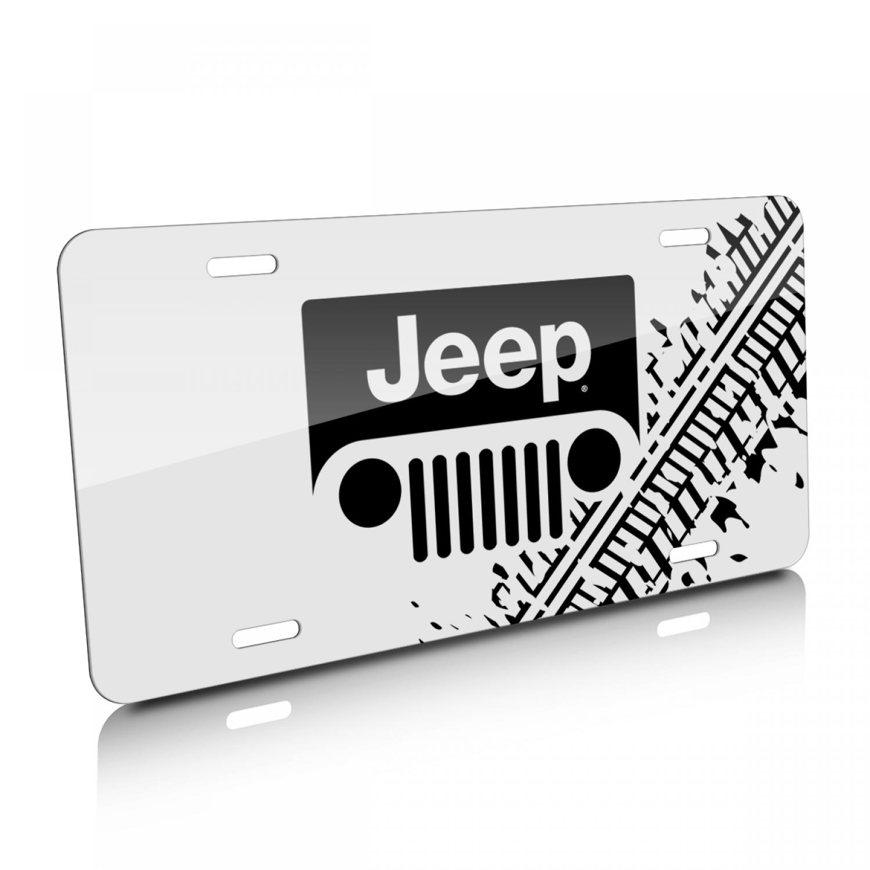 Jeep Grill Logo Tire Mark Graphic White Aluminum License Plate