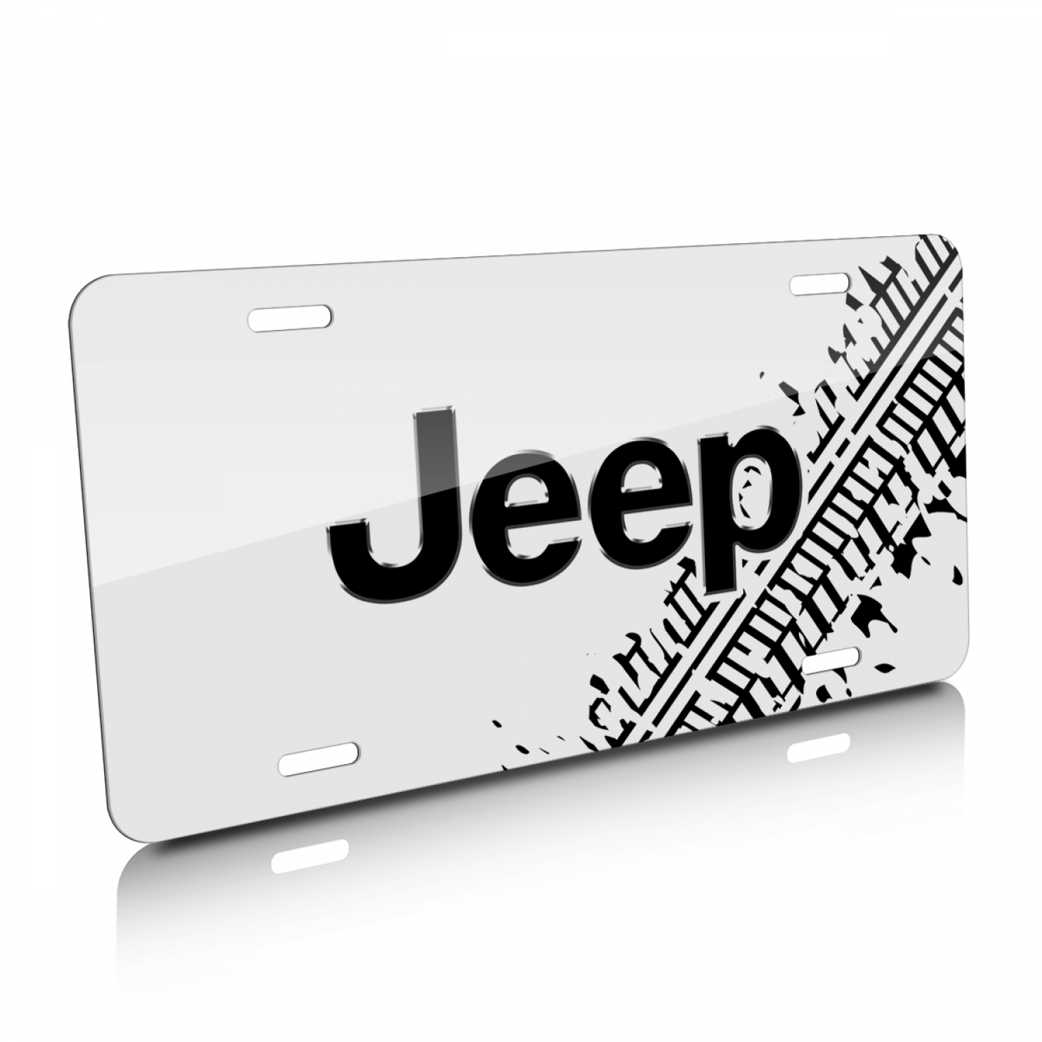 Jeep Tire Mark Graphic White Aluminum License Plate