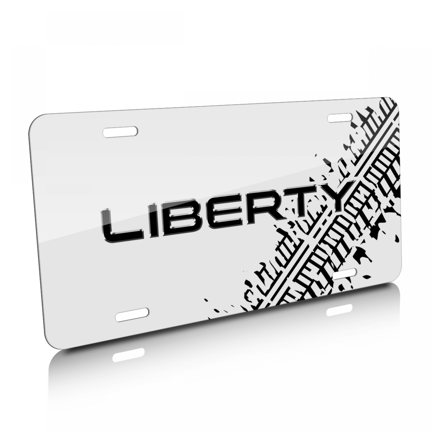 Jeep Liberty Tire Mark Graphic White Aluminum License Plate