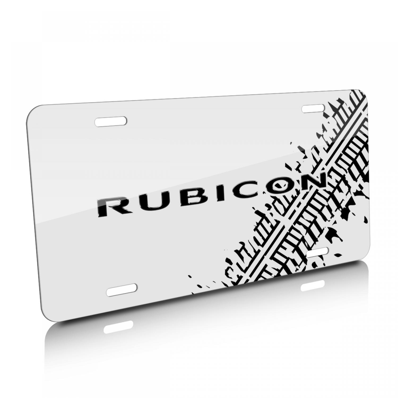 Jeep Rubicon Tire Mark Graphic White Aluminum License Plate