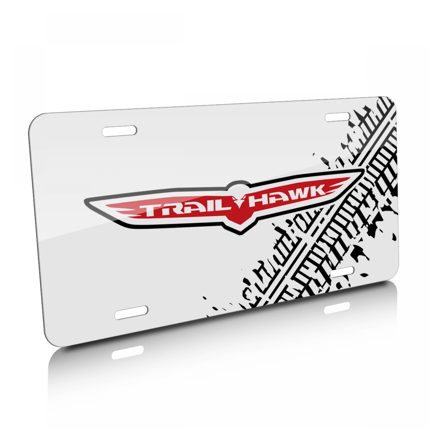 Jeep Trailhawk Tire Mark Graphic White Aluminum License Plate