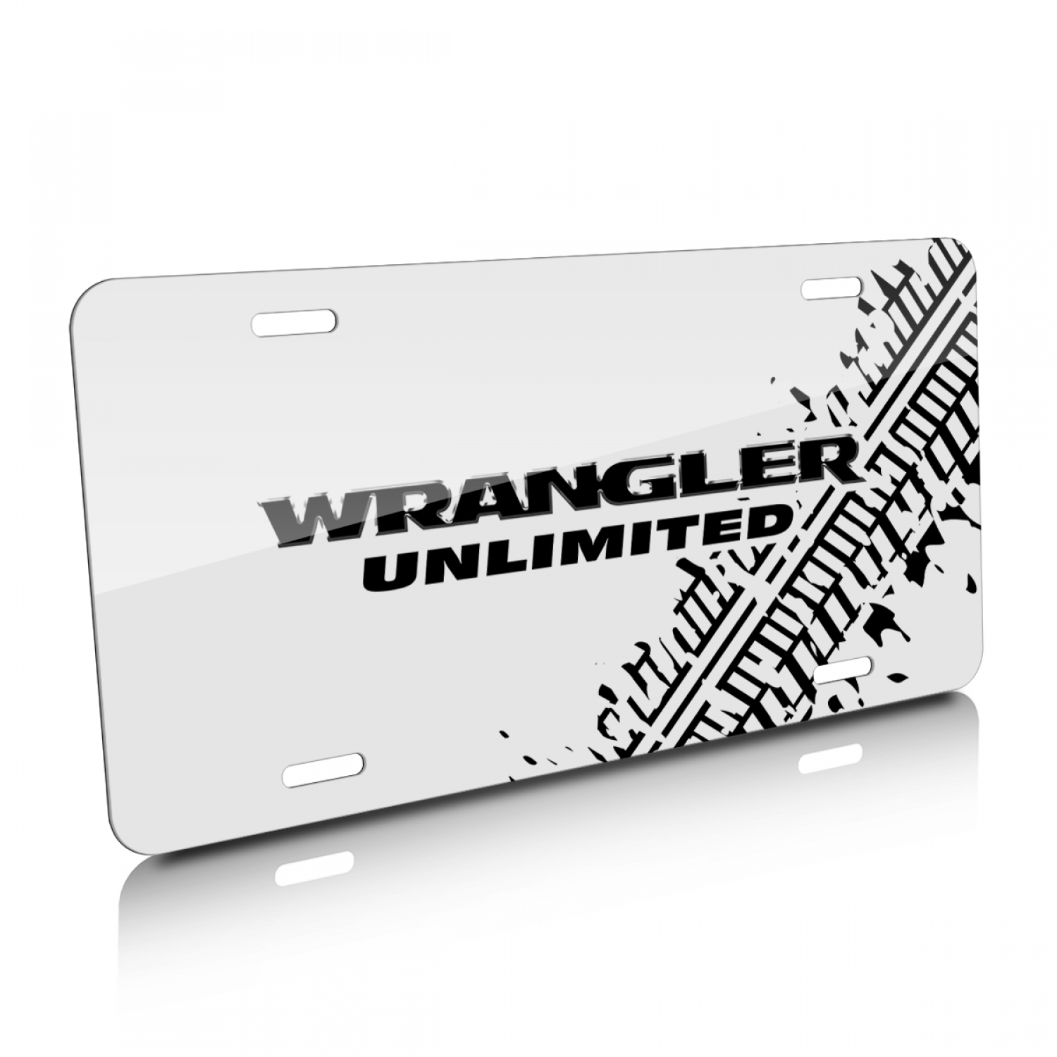 Jeep Wrangler Unlimited Tire Mark Graphic White Aluminum License Plate