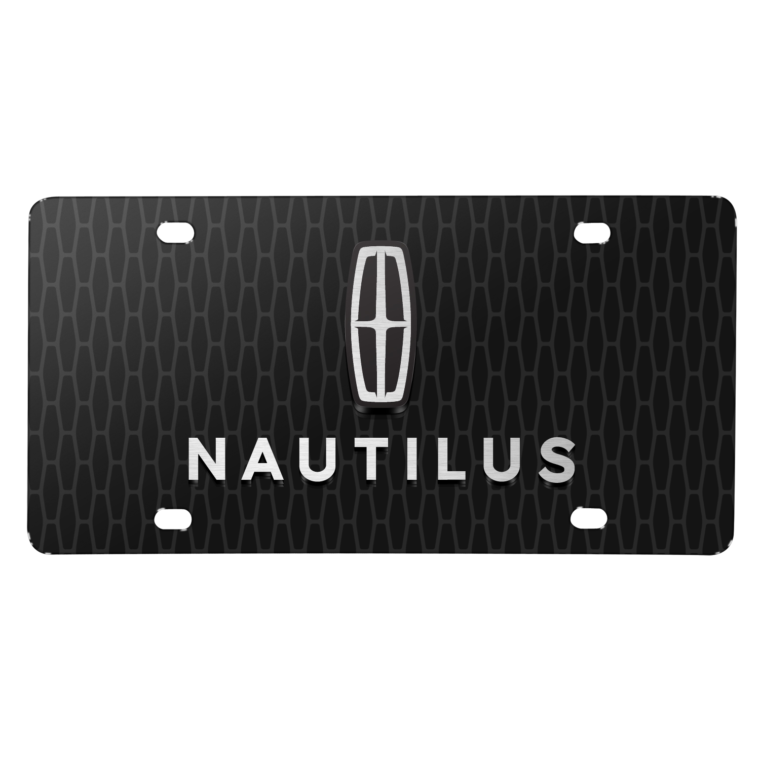 "Lincoln Nautilus 3D Logo on Front Grill Pattern 12""x6"" Black Acrylic License Plate"