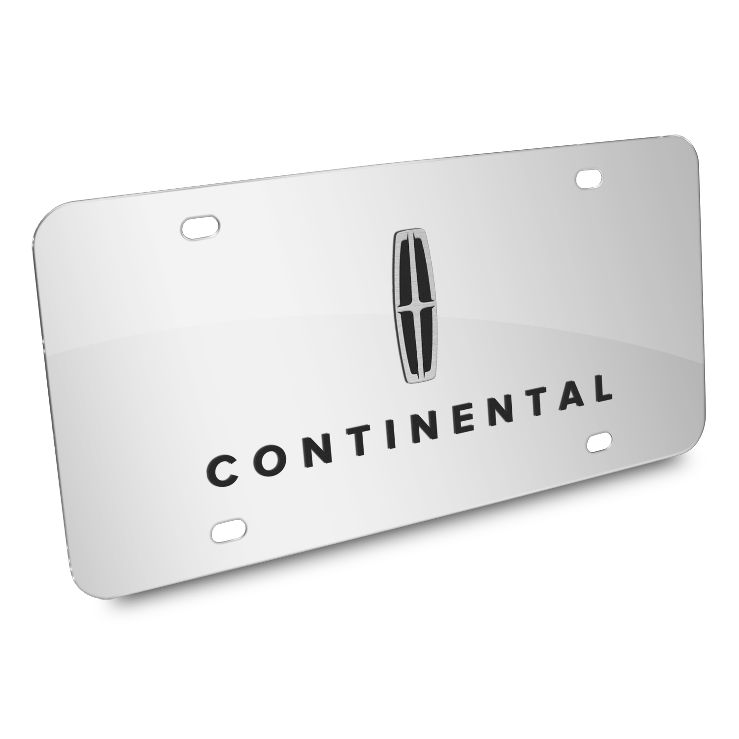 Lincoln Continental 3D Dual Logo Mirror Chrome Stainless Steel License Plate