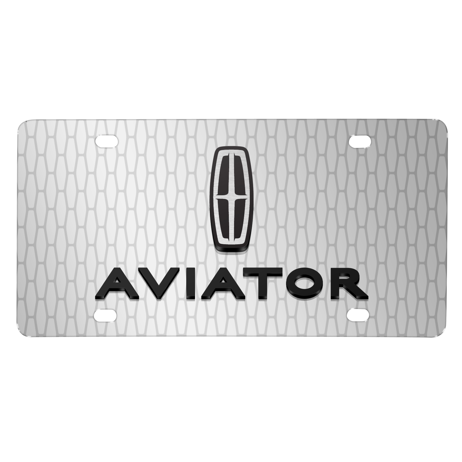 "Lincoln Aviator 3D Logo on Front Grill pattern 12""x6"" Brushed Aluminum License Plate"