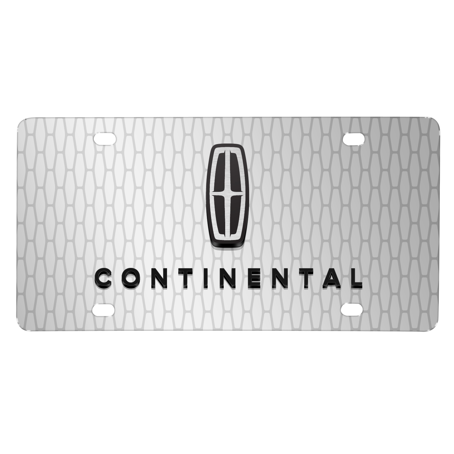 "Lincoln Continental 3D Logo on Front Grill pattern 12""x6"" Brushed Aluminum License Plate"