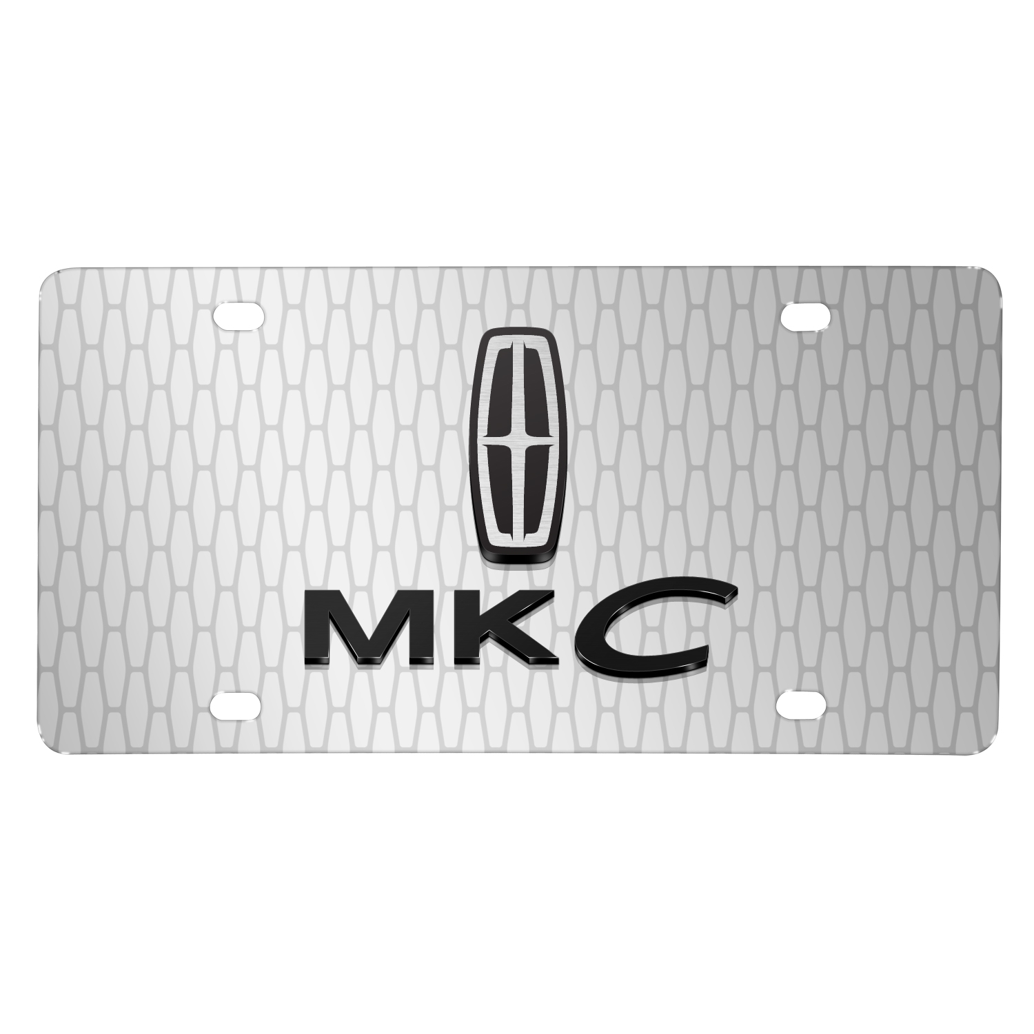 "Lincoln MKC 3D Logo on Front Grill pattern 12""x6"" Brushed Aluminum License Plate"