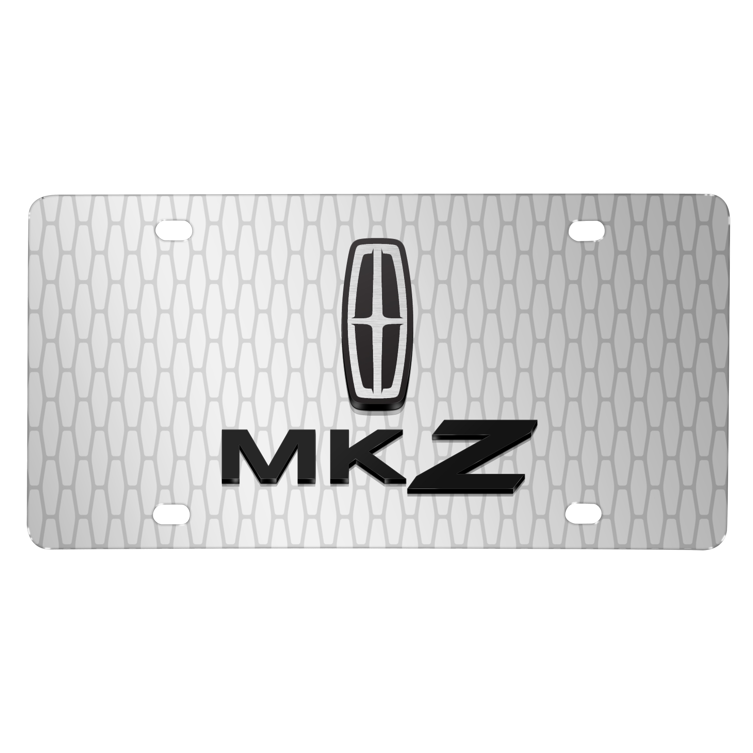 "Lincoln MKZ 3D Logo on Front Grill pattern 12""x6"" Brushed Aluminum License Plate"