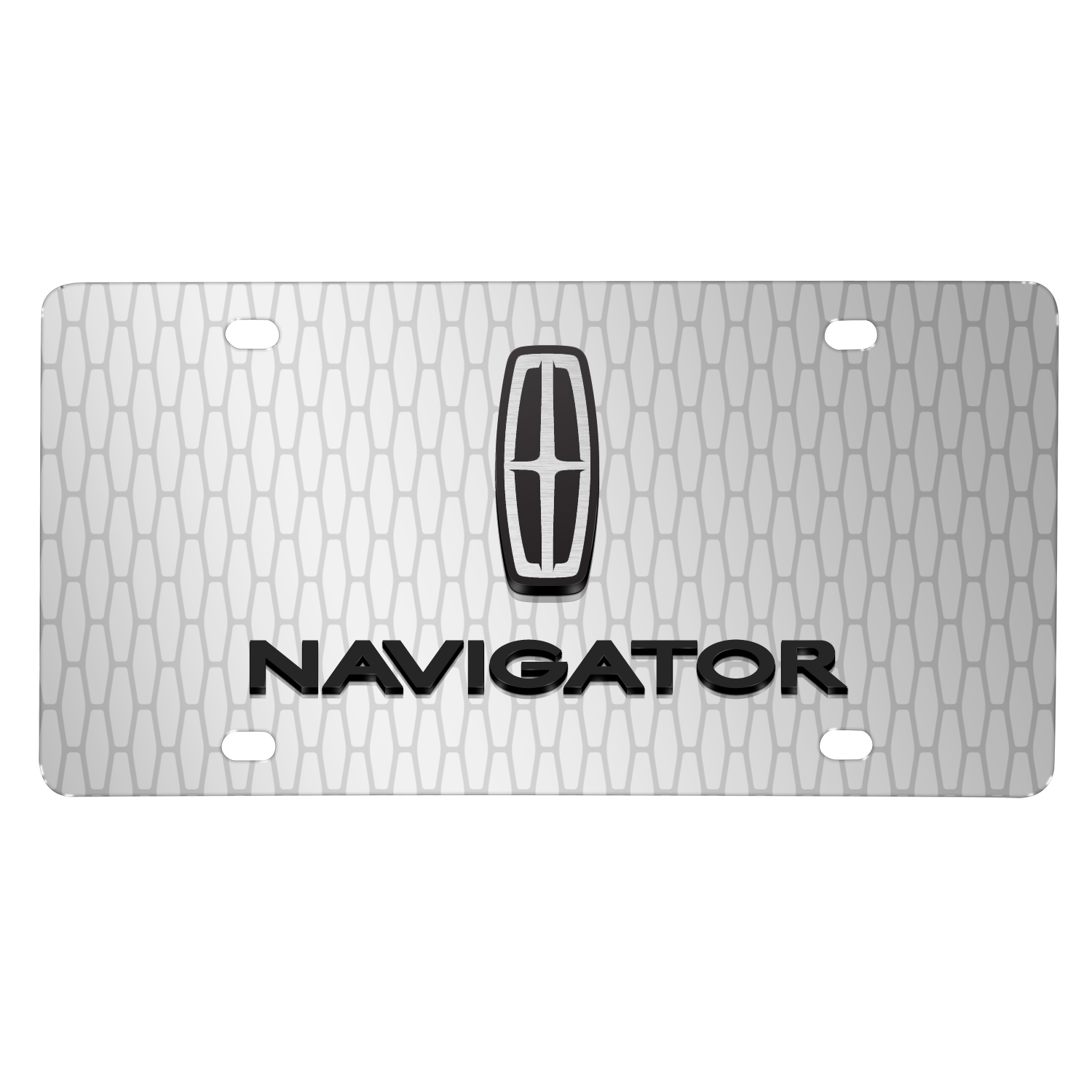 "Lincoln Navigator 3D Logo on Front Grill pattern 12""x6"" Brushed Aluminum License Plate"
