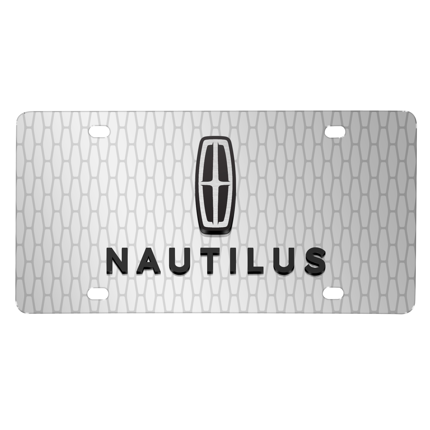 "Lincoln Nautilus 3D Logo on Front Grill pattern 12""x6"" Brushed Aluminum License Plate"