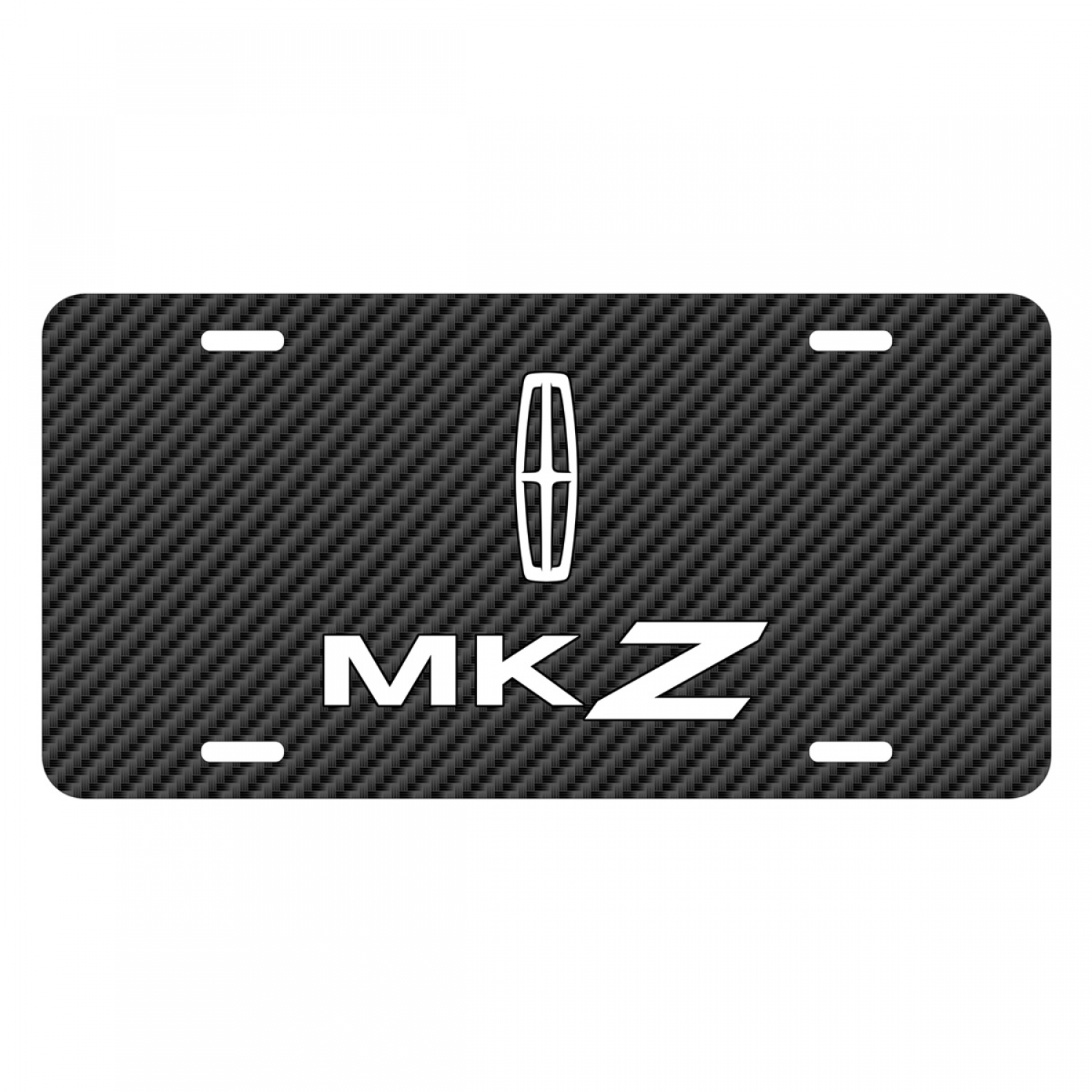 Lincoln MKZ Black Carbon Fiber Texture Graphic UV Metal License Plate