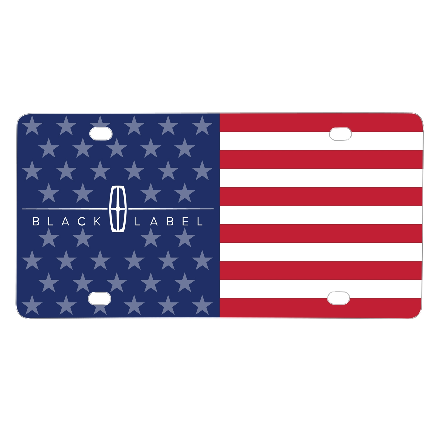 Lincoln Black Label Logo USA Flag Graphic on Aluminum Metal License Plate