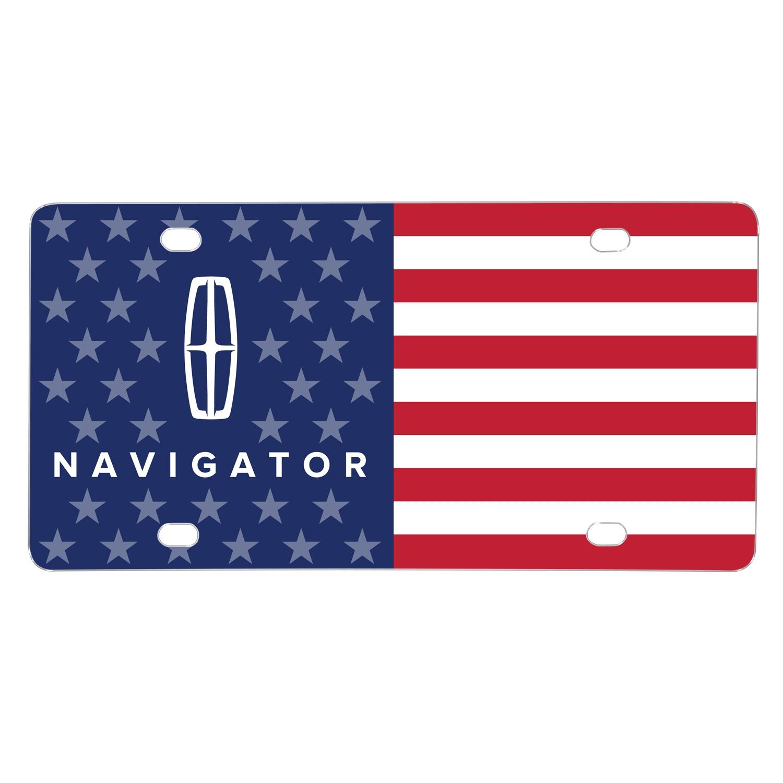 Lincoln Navigator Logo USA Flag Graphic on Aluminum Metal License Plate