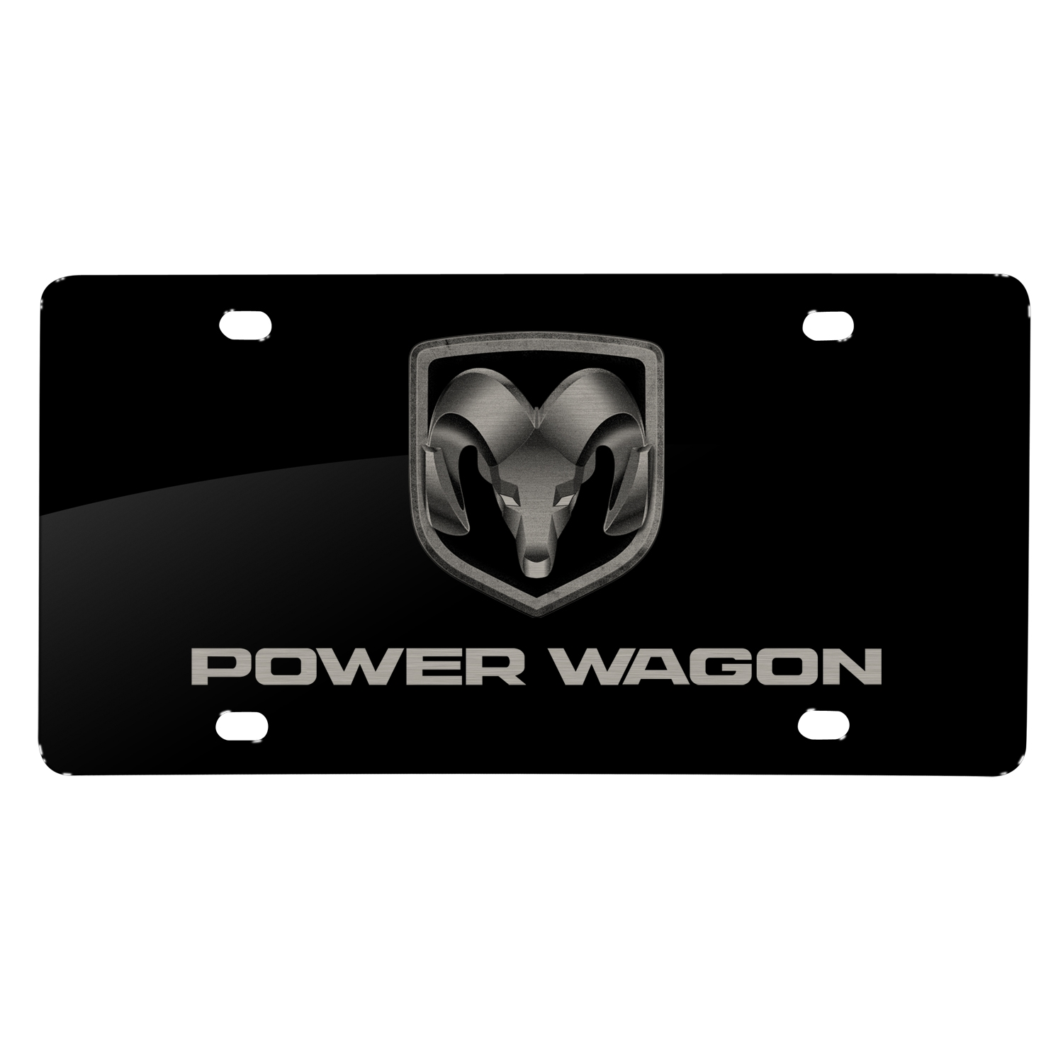 RAM Power Wagon Laser Mark Black Acrylic License Plate