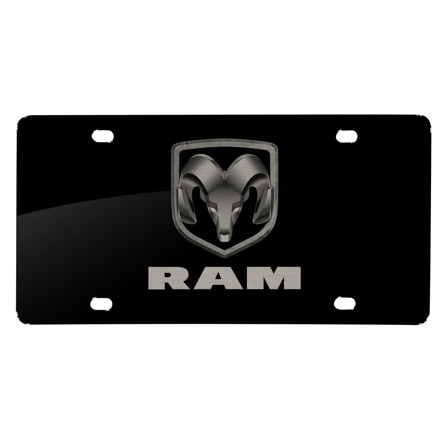 RAM Logo Laser Mark Black Acrylic License Plate
