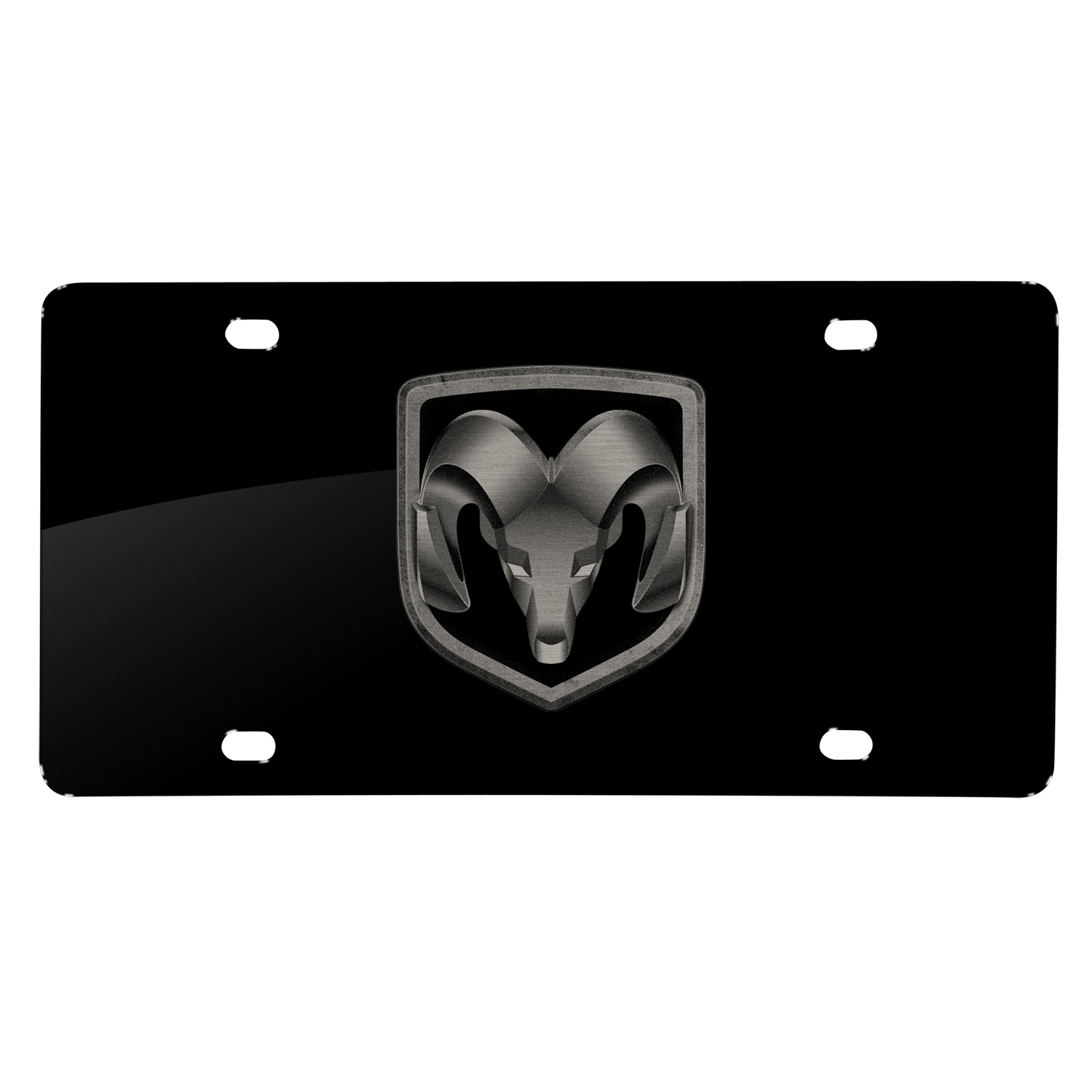 RAM Head Logo Laser Mark Black Acrylic License Plate