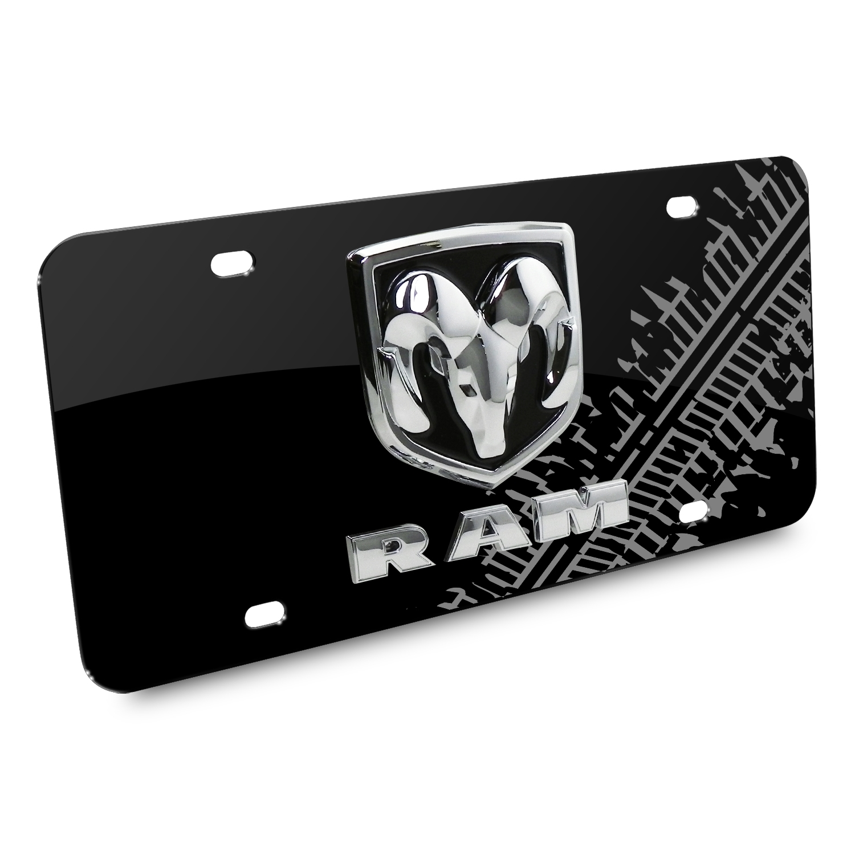 RAM 3D Logo Tire Mark Black Metal License Plate