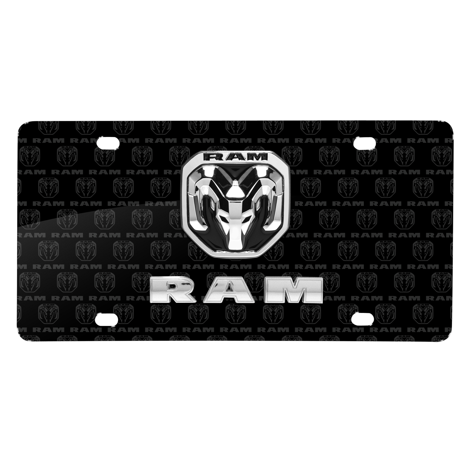 RAM 2019 3D Dual Logo on Logo Pattern Black Aluminum License Plate