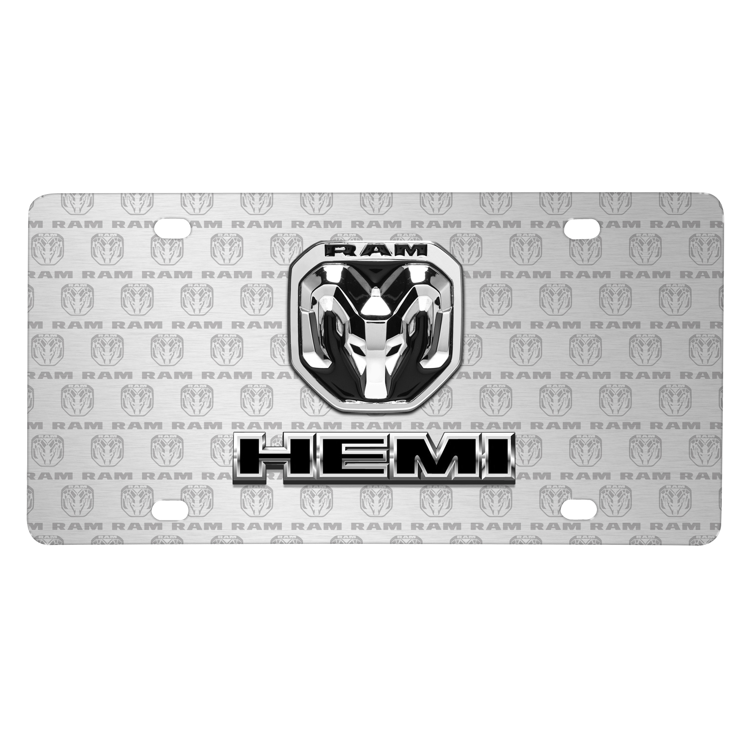 RAM HEMI Dual Logo 3D Logo on Logo Pattern Brushed Aluminum License Plate