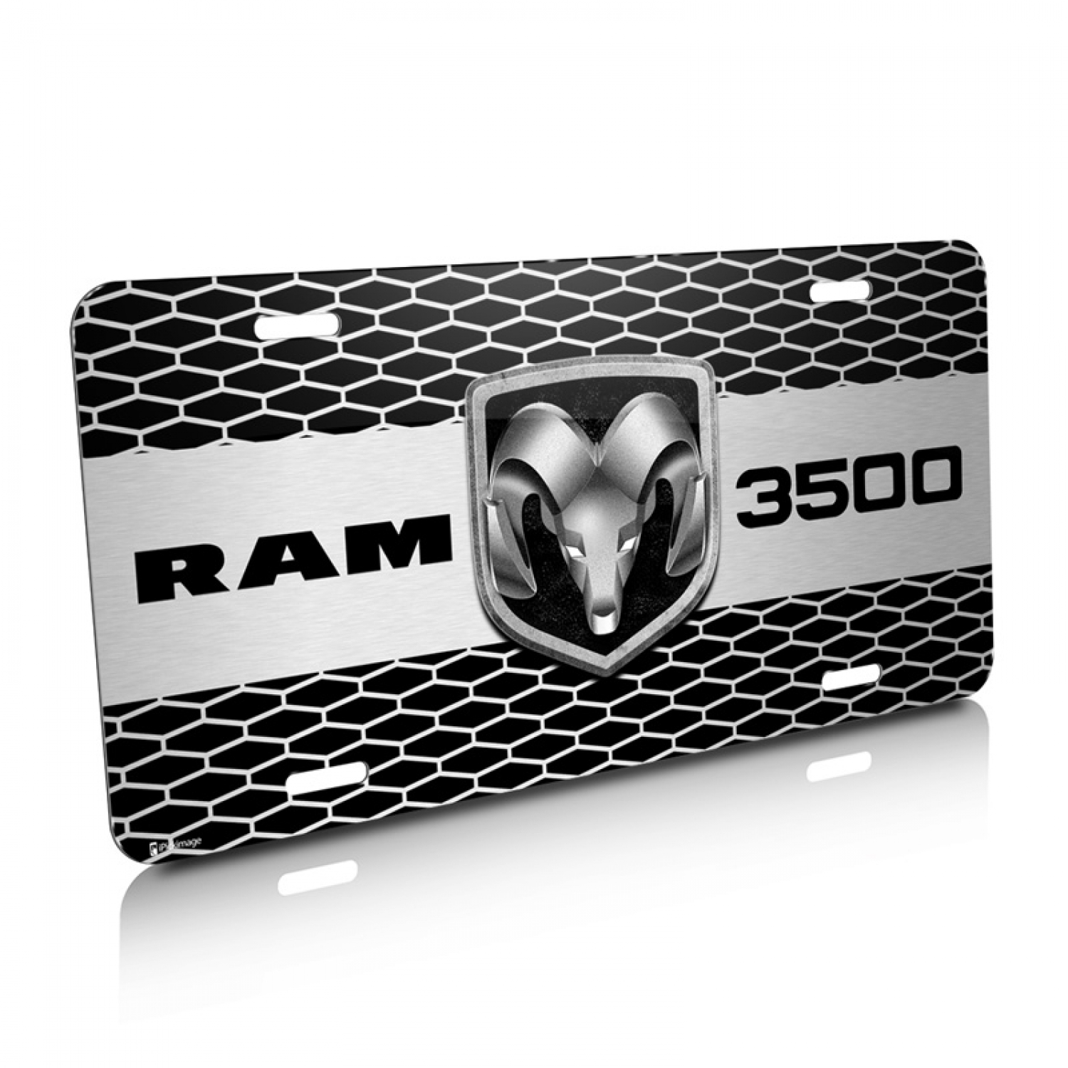 RAM 3500 Truck Grill Graphic Aluminum License Plate