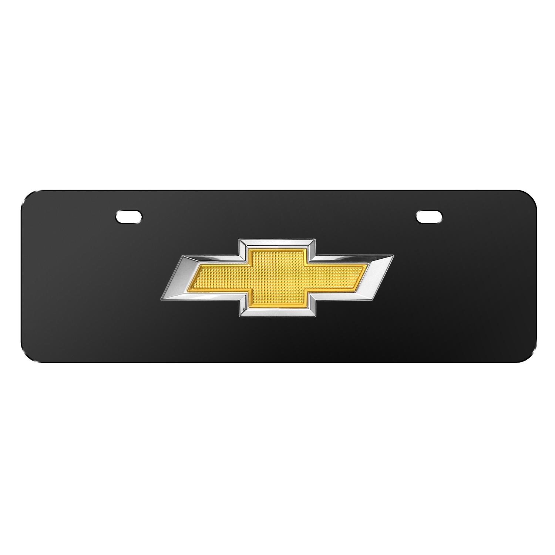 "Chevrolet Golden 3D Logo Black 12""x4"" Half-Size Stainless Steel License Plate"