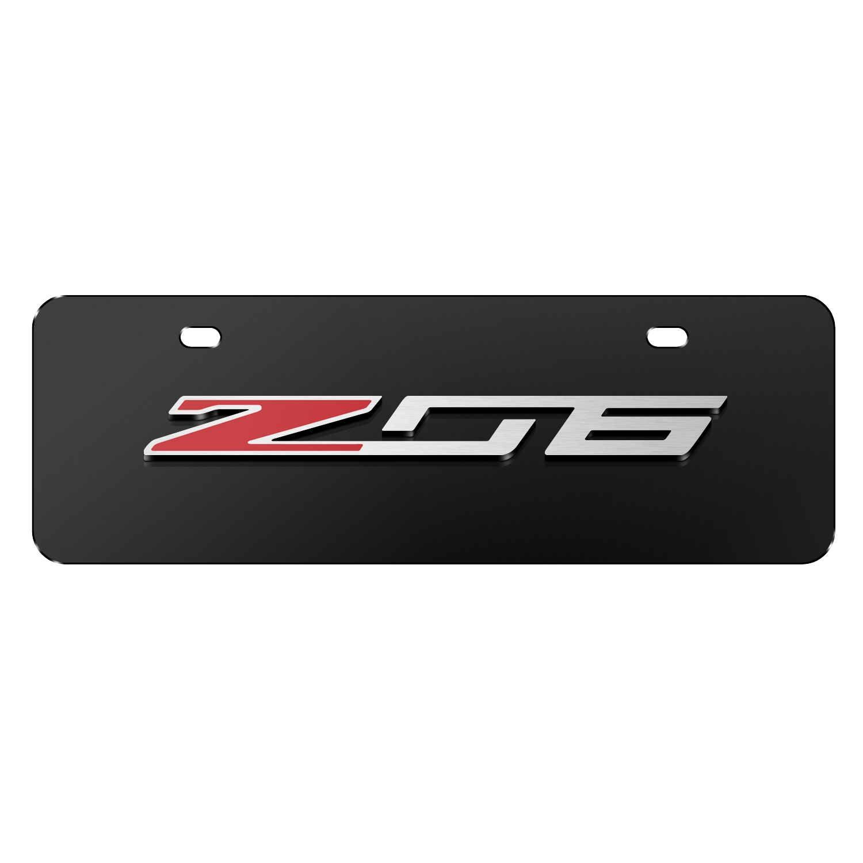 """Chevrolet 2014 Corvette C7 Z06 3D Logo Black 12""""x4"""" Half-Size Stainless Steel License Plate"""