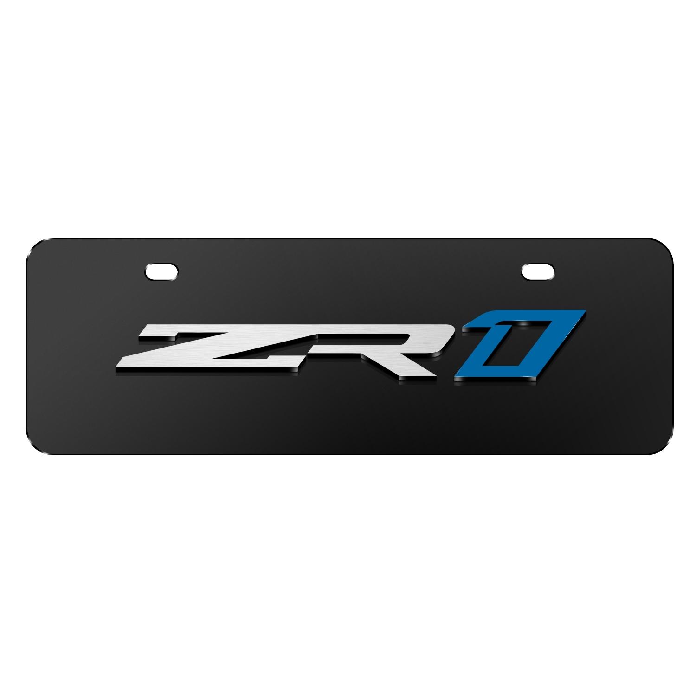 """Chevrolet 2018 Corvette C7 ZR1 3D Logo Black 12""""x4"""" Half-Size Stainless Steel License Plate"""
