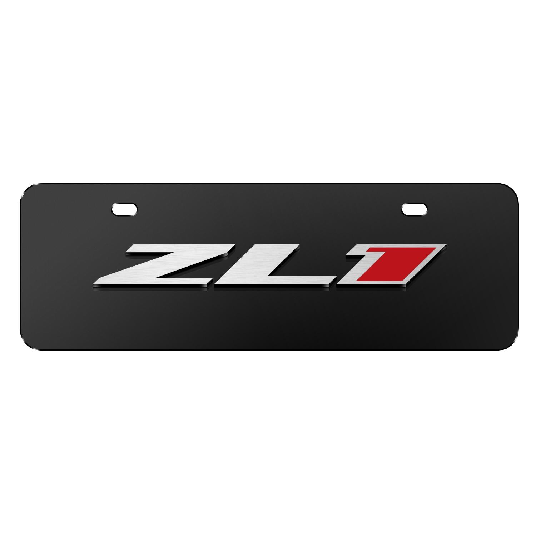 "Chevrolet 2016 Camaro ZL1 3D Logo Black 12""x4"" Half-Size Stainless Steel License Plate"