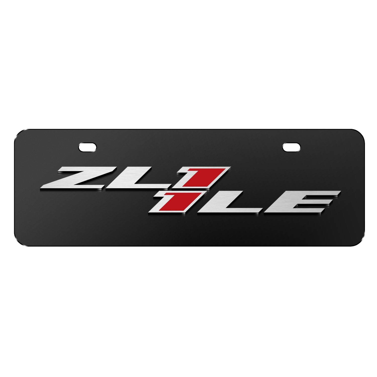 "Chevrolet 2016 Camaro ZL1-1LE 3D Logo Black 12""x4"" Half-Size Stainless Steel License Plate"