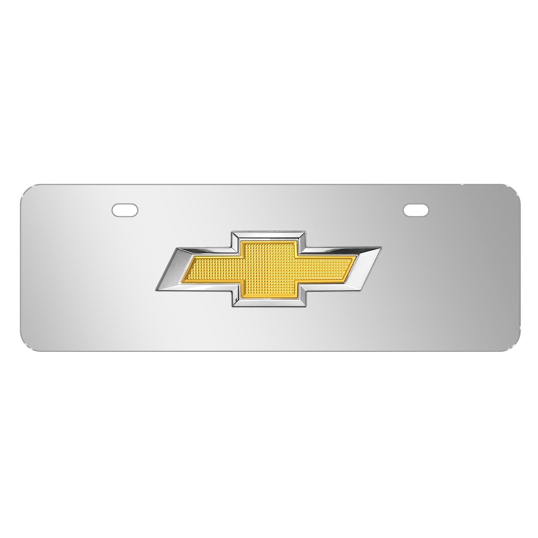 "Chevrolet Golden 3D Logo Mirror Chrome 12""x4"" Half-Size Stainless Steel License Plate"