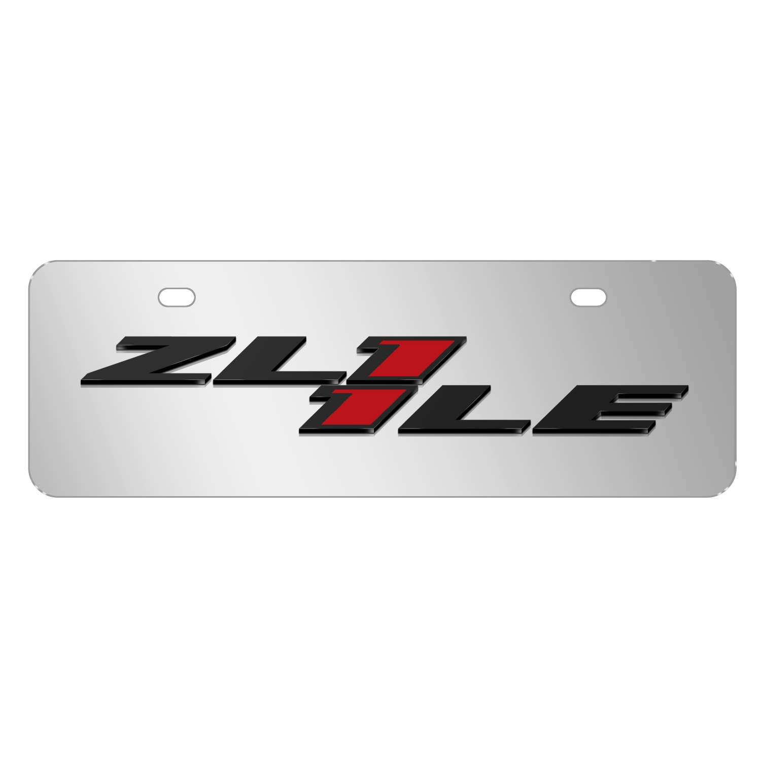 "Chevrolet 2016 Camaro ZL1-1LE 3D Logo Mirror Chrome 12""x4"" Half-Size Stainless Steel License Plate"