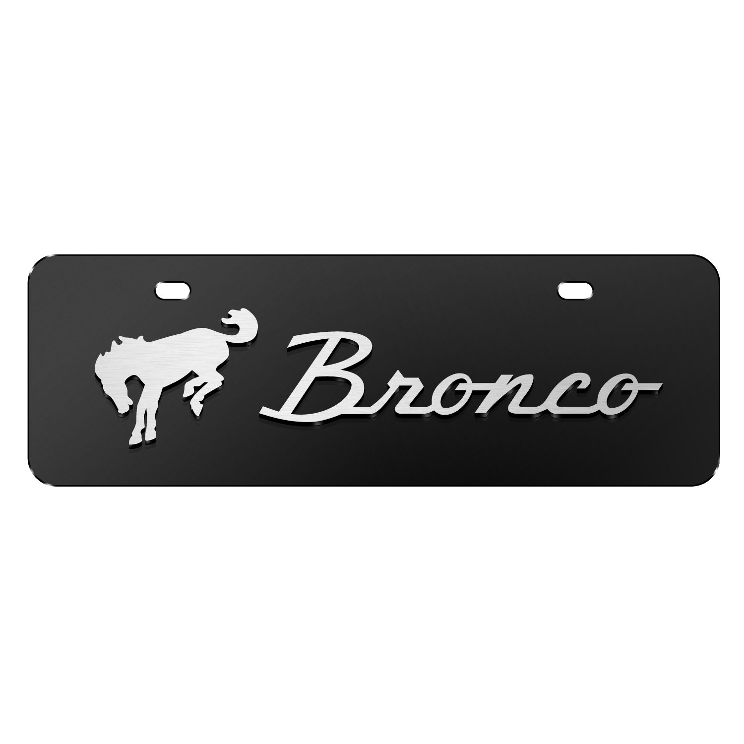 """Ford Bronco 3D Logo on Black 12""""x4"""" Half-Size Stainless Steel License Plate"""