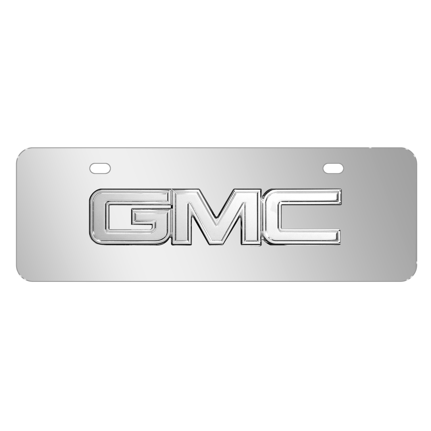 "GMC 3D Chrome Metal Logo Mirror Chrome 12""x4"" Half-Size Stainless Steel License Plate"