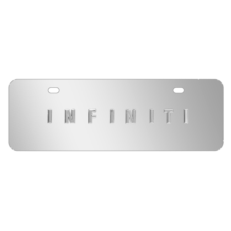 "INFINITI Name Brush 12""x4"" Half-Size Metal License Plate"