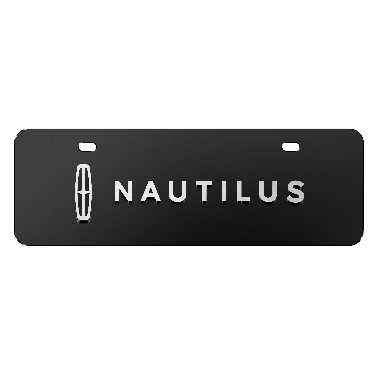 "Lincoln Nautilus 3D Logo on Black 12""x4"" Half-Size Stainless Steel License Plate"