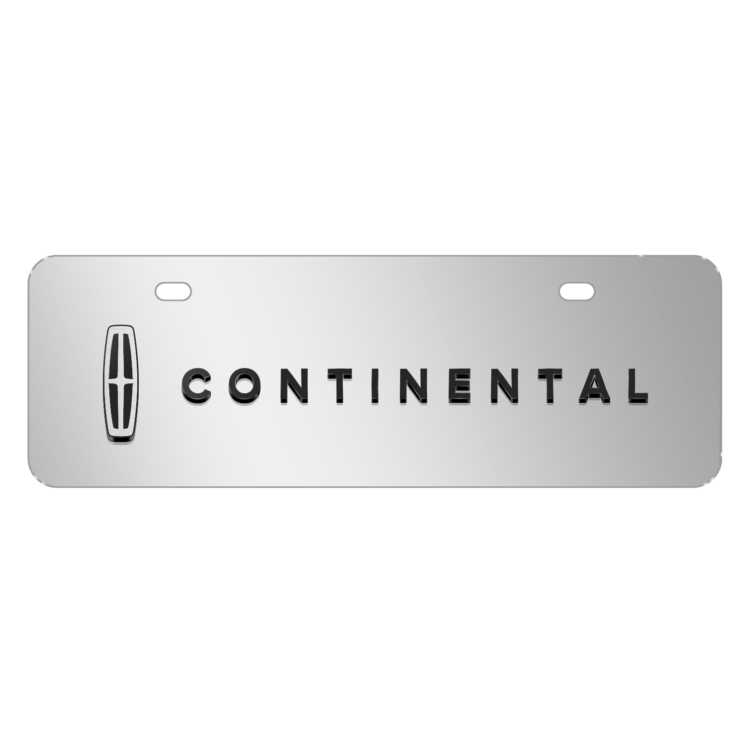 "Lincoln Continental 3D Logo on Chrome 12""x4"" Half-Size Stainless Steel License Plate"