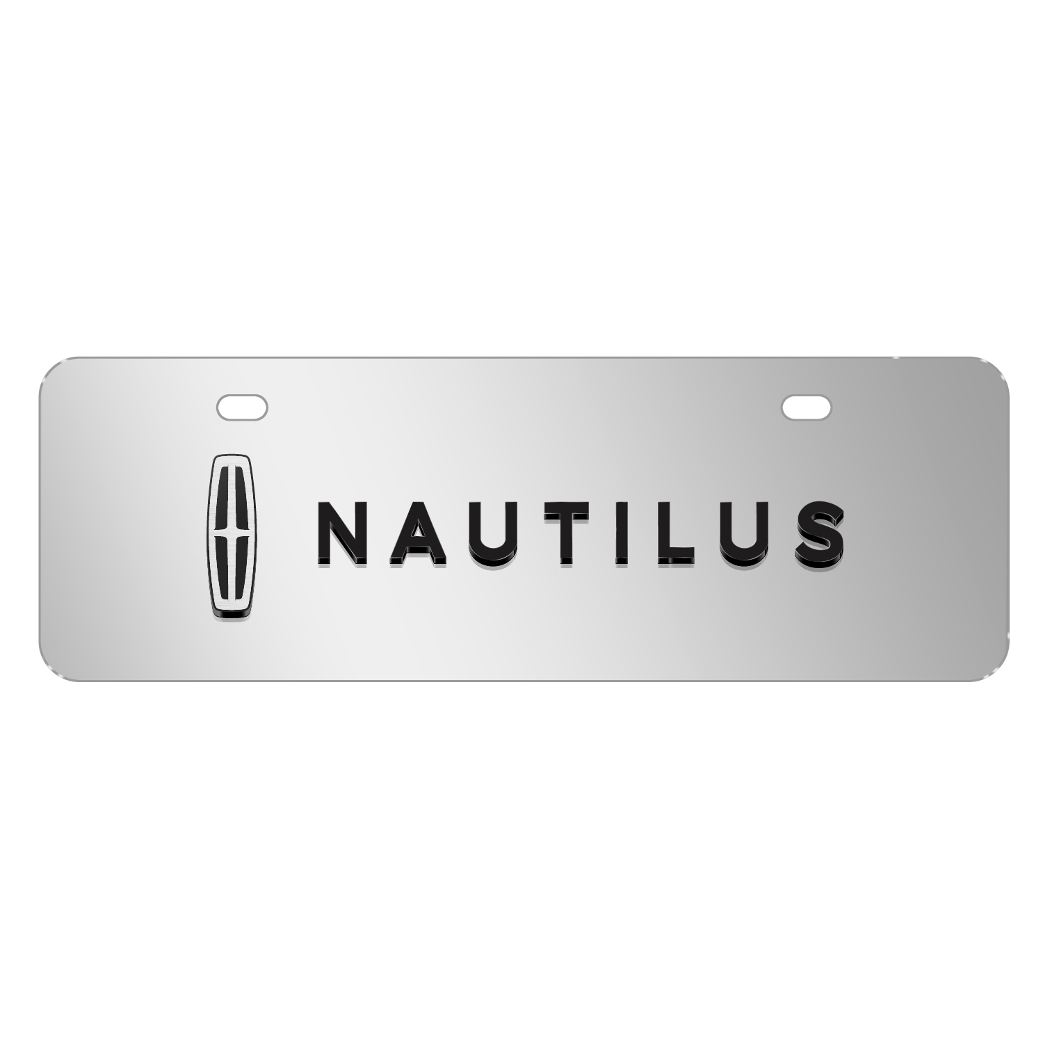 "Lincoln Nautilus 3D Logo on Chrome 12""x4"" Half-Size Stainless Steel License Plate"