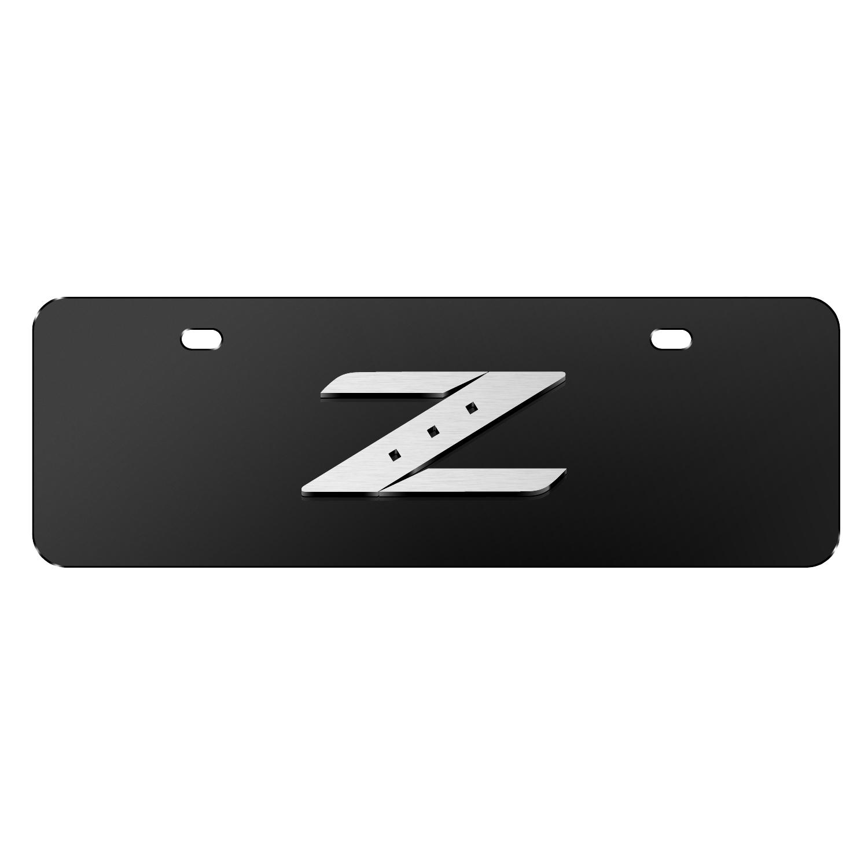 "Nissan 350Z Z Logo 3D Black 12""x4"" Half-Size Stainless Steel License Plate"