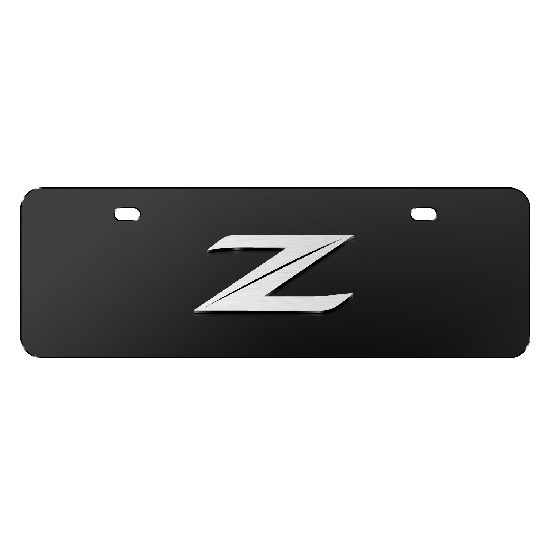 "Nissan 370Z Z Logo 3D Black 12""x4"" Half-Size Stainless Steel License Plate"