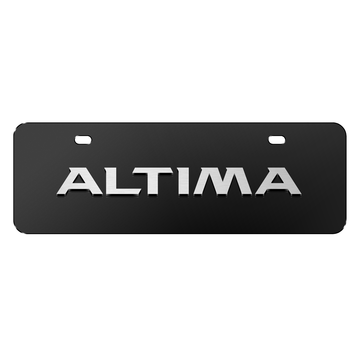 """Nissan Altima 3D Black 12""""x4"""" Half-Size Stainless Steel License Plate"""