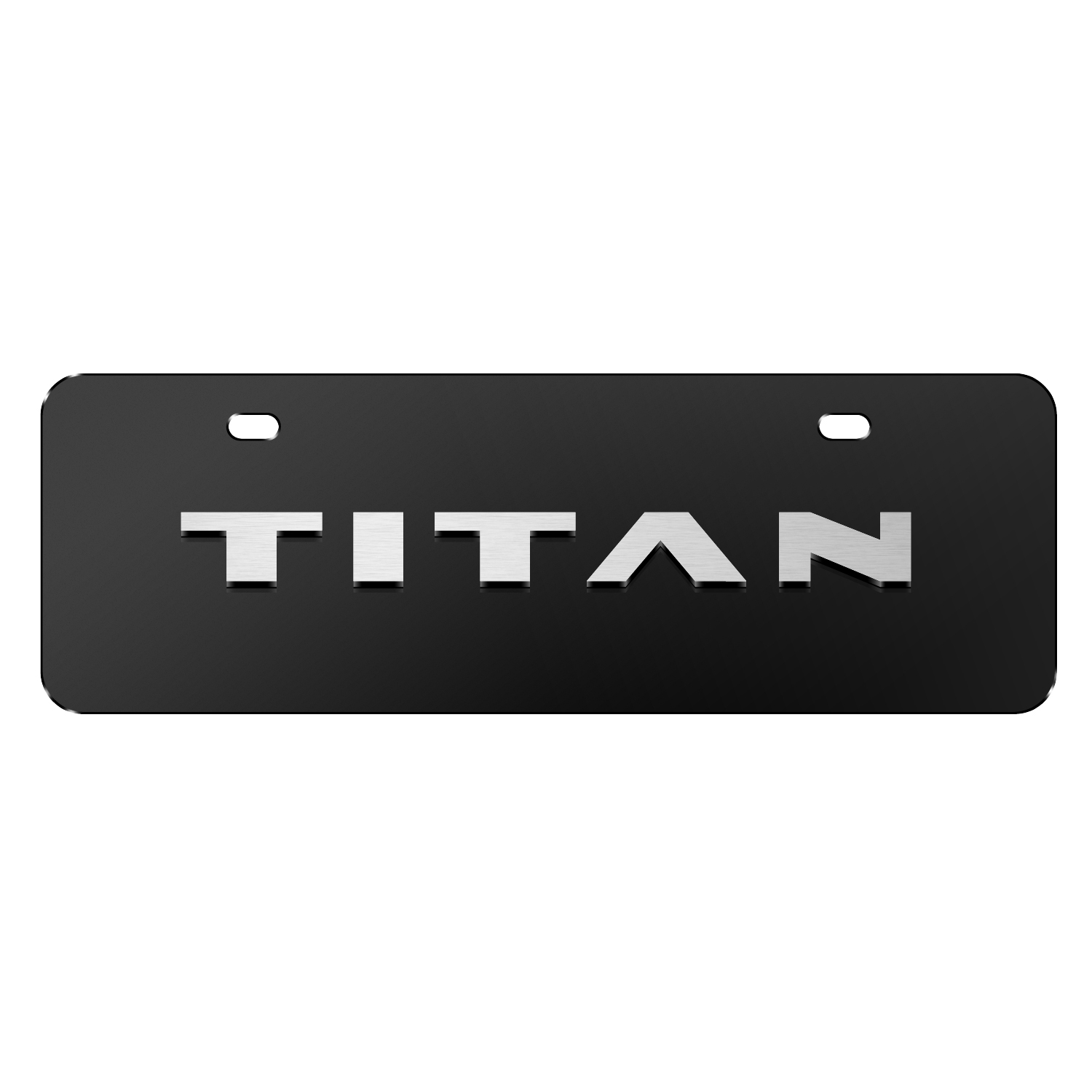 """Nissan Titan Name 3D Black 12""""x4"""" Half-Size Stainless Steel License Plate"""