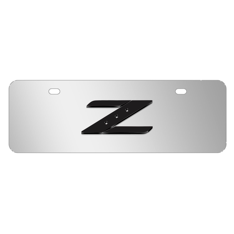 "Nissan 350Z Z Logo 3D Mirror Chrome 12""x4"" Half-Size Stainless Steel License Plate"