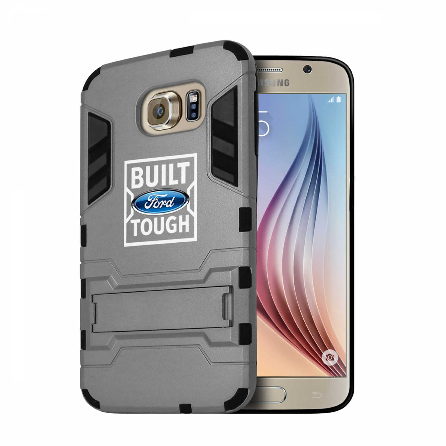 Ford Built Ford Tough Samsung Galaxy S6 Shockproof TPU ABS Hybrid Gray Phone Case