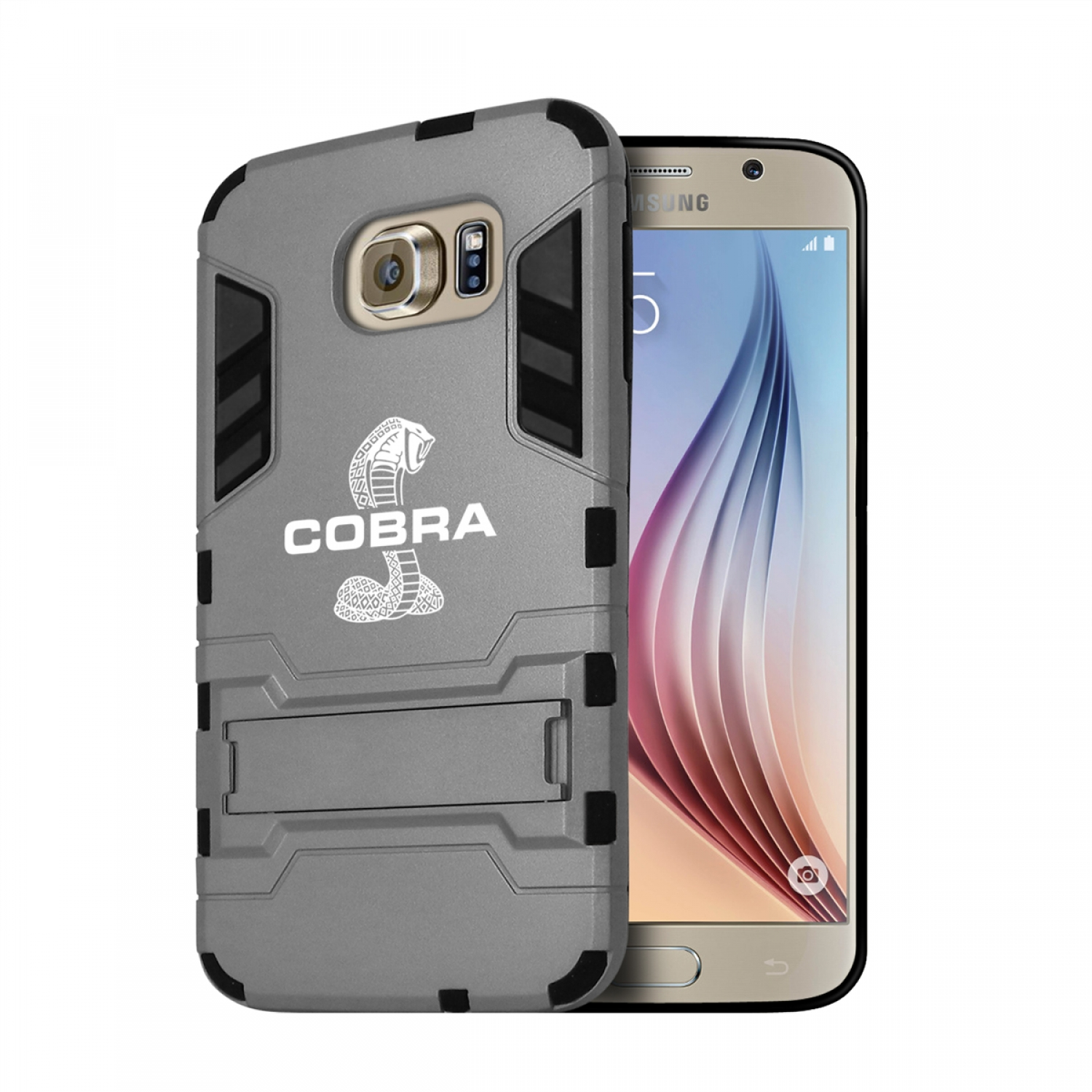 Ford Mustang Cobra Samsung Galaxy S6 Shockproof TPU ABS Hybrid Gray Phone Case