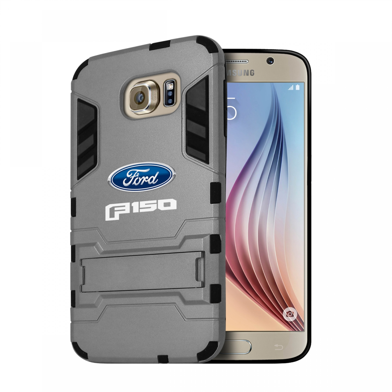 Ford F-150 2015 up Samsung Galaxy S6 Shockproof TPU ABS Hybrid Gray Phone Case