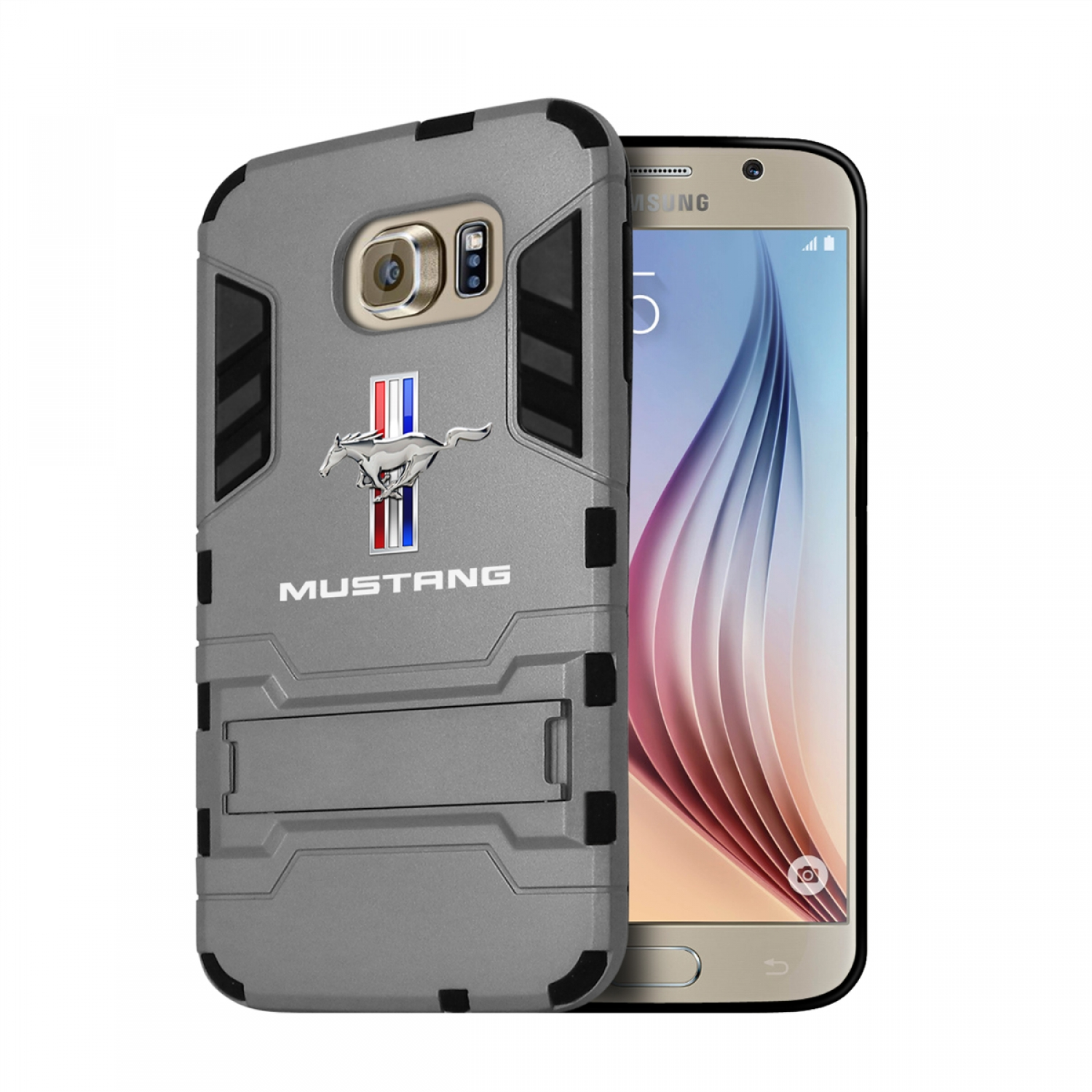 Ford Mustang Tri-Bar Samsung Galaxy S6 Shockproof TPU ABS Hybrid Gray Phone Case