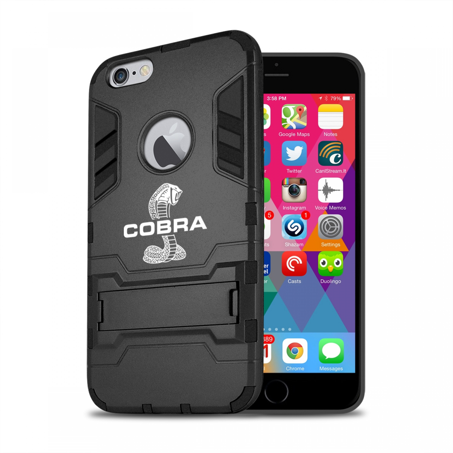Ford Mustang Cobra iPhone 6 6s Shockproof TPU ABS Hybrid Black Phone Case