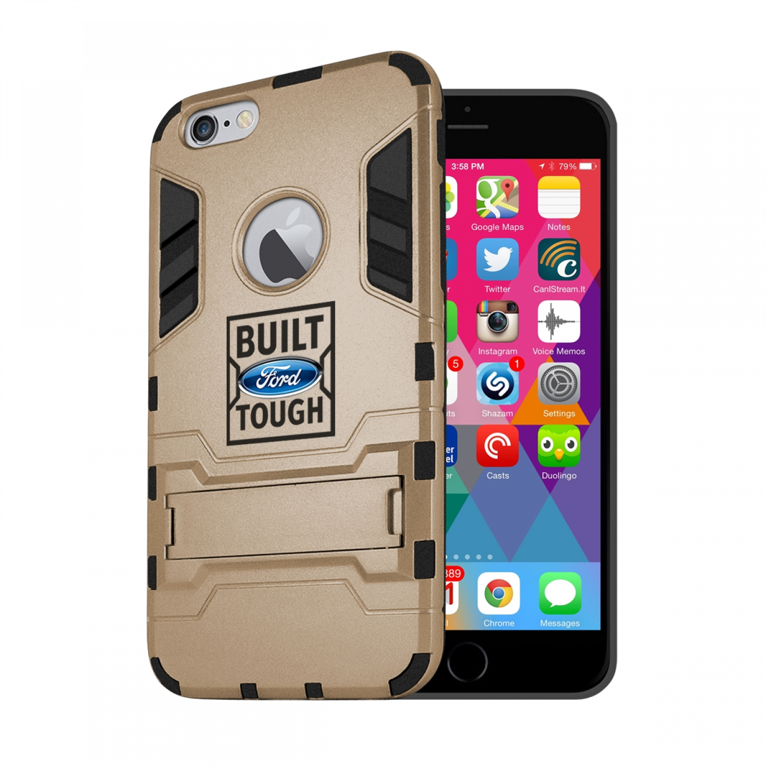 Ford Built Ford Tough iPhone 6 6s Shockproof TPU ABS Hybrid Golden Phone Case