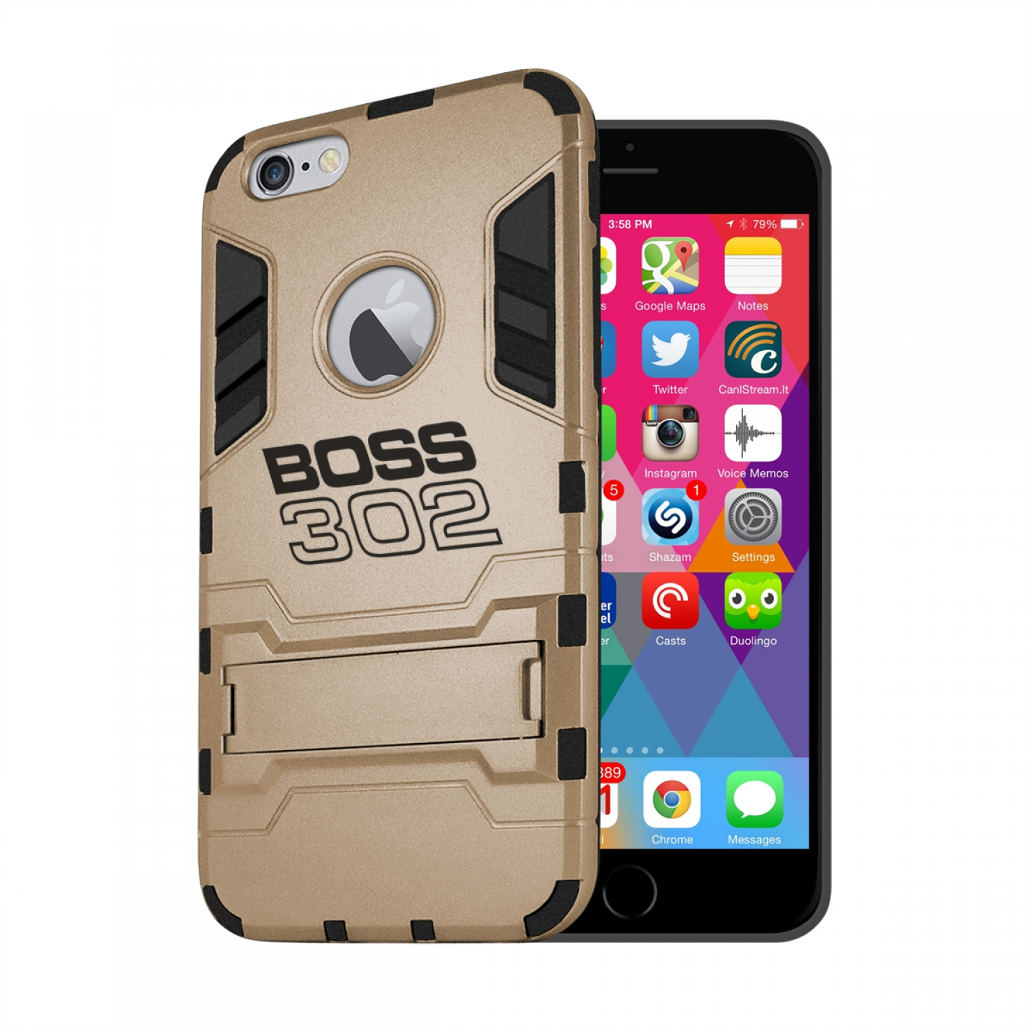 Ford Mustang Boss 302 iPhone 6 6s Shockproof TPU ABS Hybrid Golden Phone Case